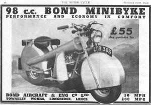 To εκκεντρικό Minibyke 98 της βρετανικής Bond, στις αρχές του '50