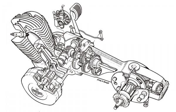 Τομή (εξαιρετικό σχέδιο) ενός κινητήρα Lambretta