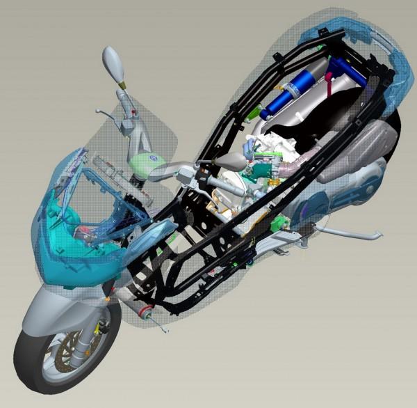 Στην δεξιά πίσω πλευρά - με μπλε χρώμα - διακρίνεται το ρυθμιζόμενο πίσω αμορτισέρ
