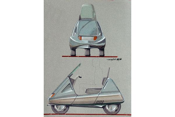 To Studio 3 ήταν μια πρόταση για 3τροχο σκούτερ ήδη από το 1973, με τις δύο ρόδες να βρίσκονται όμως στο πίσω μέρος. Πέρασαν πολλά χρόνια μέχρι η Piaggio σαν πρωτοπόρος στο χώρο να παρουσιάσει το δικό της σκούτερ με τρεις τροχούς. Τα Piaggio ΜΡ3 εμφανίστηκαν στην αγορά πρώτη φορά το 2006