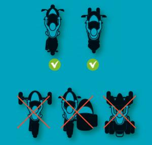 Επιτρέπονται δίτροχα σκούτερ και μοτοσυκλέτες και τρίτροχα σκούτερ, απαγορεύονται κάποια άλλα με καλάθι, ATV και 3τροχα με μεγάλο μετατρόχιο μπροστά