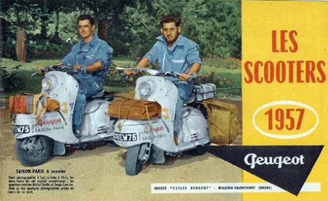 Οι δυο ταξιδιώτες Σαϊγκόν-Παρίσι πάνω στα σκούτερ τους